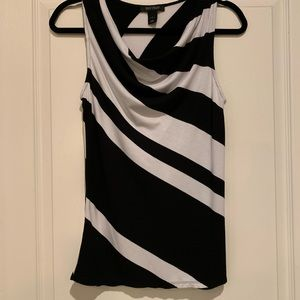 WHBM- Sleeveless Black and White Cotton Shirt